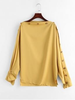 Slit Solid Full Long Slash Casual Daily Slash Neck Buttoned Sleeves Blouse