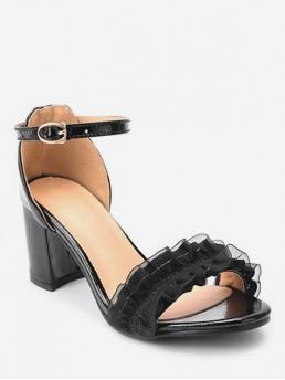 Summer PU 7CM Rubber Ruffles Solid Buckle Chunky Ankle Daily Sweet For Sweet Ruffled Mid Heel Sandals