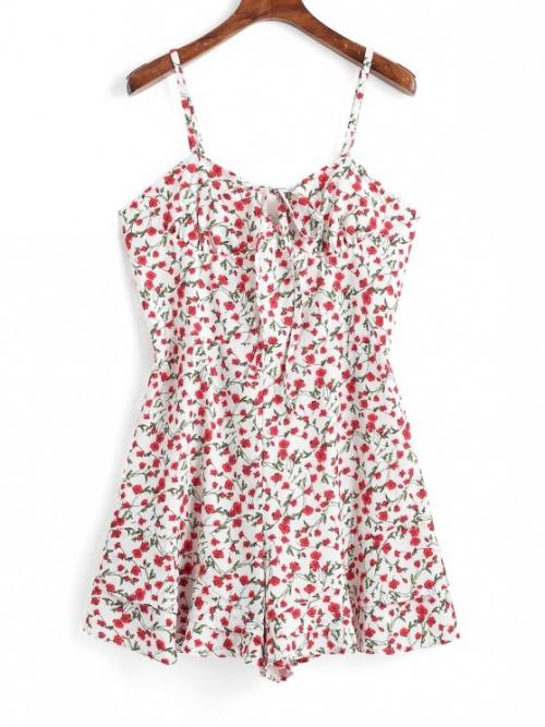 Summer No Floral Nonelastic Sleeveless Spaghetti Mini Regular Fashion Daily and Going Tied Collar Floral Cami Romper