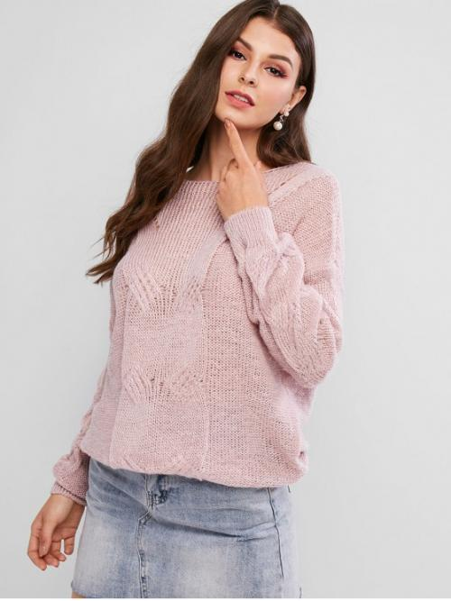 Autumn Solid Elastic Full Drop Round Regular Loose Casual Daily Pullovers Pointelle Knit Solid Loose Sweater