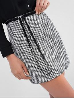 Fall and Winter Zipper Others Sheath Mini Daily and Going Fashion Whip Stitch Tweed Fitted Short Skirt