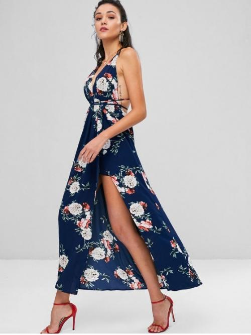 Summer No Floral Backless and Criss-Cross Empire Sleeveless Spaghetti Ankle-Length Floral Print Backless Maxi Dress
