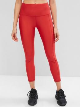 Spring and Summer 7/8 Solid Elastic High Sports Fashion Solid Stitching High Waisted Gym Leggings