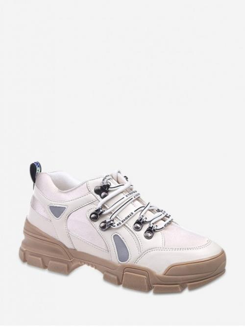 Breathable Spring/Fall PU Letter Lace-Up For Round Toe Color-blocking Dad Sneakers