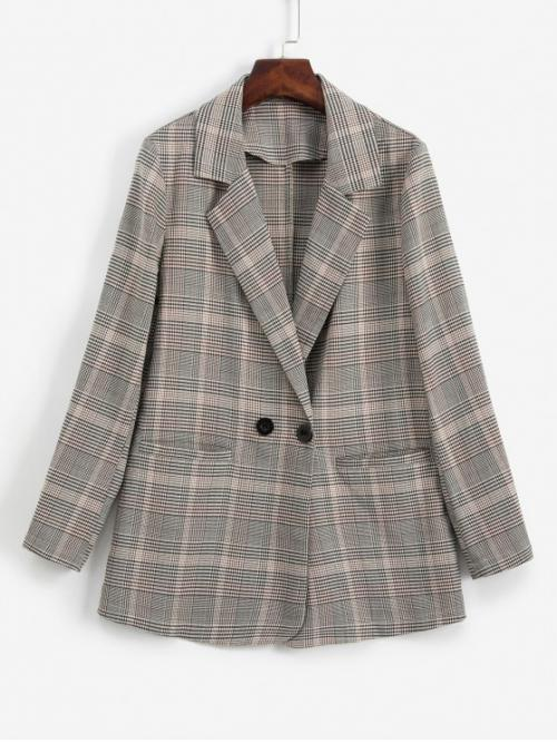 Fall and Winter Pockets Plaid Double Full Lapel Long Regular Fashion Plaid Lapel Pocket Two Button Work Blazer