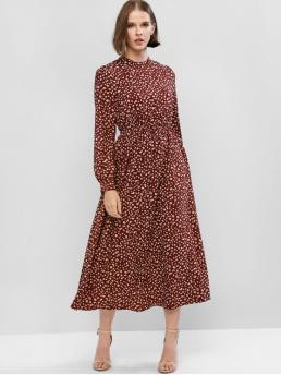 No Fall and Spring Print Long Crew Ankle-Length A-Line Casual and Vacation Casual Printed Long Sleeve Maxi Flowing Dress