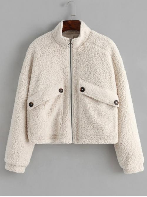 Winter No Solid Stand-Up Drop Full Regular Wide-waisted Fur Daily Casual Drop Shoulder Pocket Teddy Coat