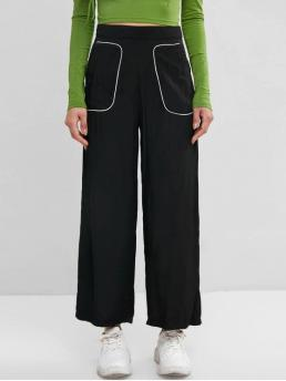 Fall and Spring Zipper Wide Others Pockets Loose High Fashion Binding Pocket Wide Leg Palazzo Pants