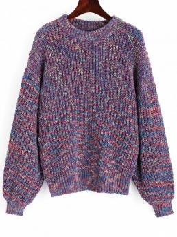 Full Crew Casual Pullovers Lantern Sleeve Multicolored Chunky Sweater