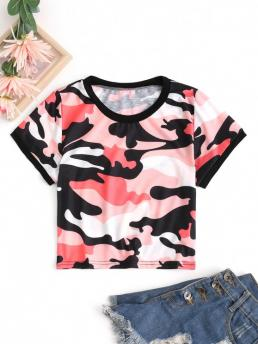 Short Sleeve Cotton,polyester Camo Red Cropped Ringer Tee Sale