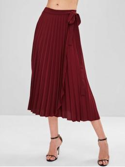 Fall and Spring Tie Solid Pleated Mid-Calf Beach and Going Fashion Pleated Wrap Tie Waist  Midi Skirt