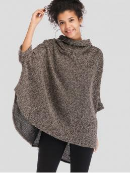 Autumn and Spring Elastic Three Cowl Long Loose Elegant Pullovers Cowl Neck Oversized Poncho Sweater