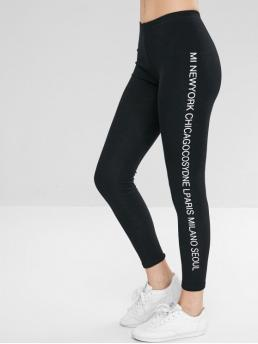 Fall Letter Mid Daily Casual Mid Waist Letter Print Leggings