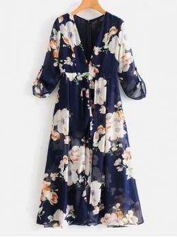 Fall and Spring No Floral Long V-Collar Regular Fashion Daily Long Sleeve Floral Maxi Romper