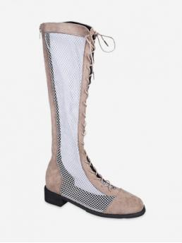 Trendy Mesh Rubber Lace-Up Patchwork 4CM Chunky Square Knee-High Summer Fashion For Mesh Panel Lace Up Knee High Boots