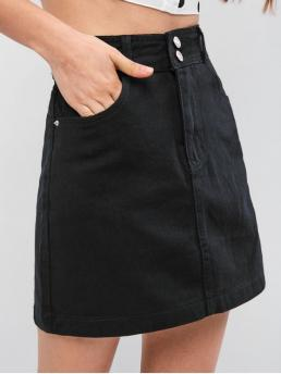 No Summer Zipper Pockets Solid A-Line Mini Daily and Going Fashion Zip Fly High Waisted Mini Denim Skirt