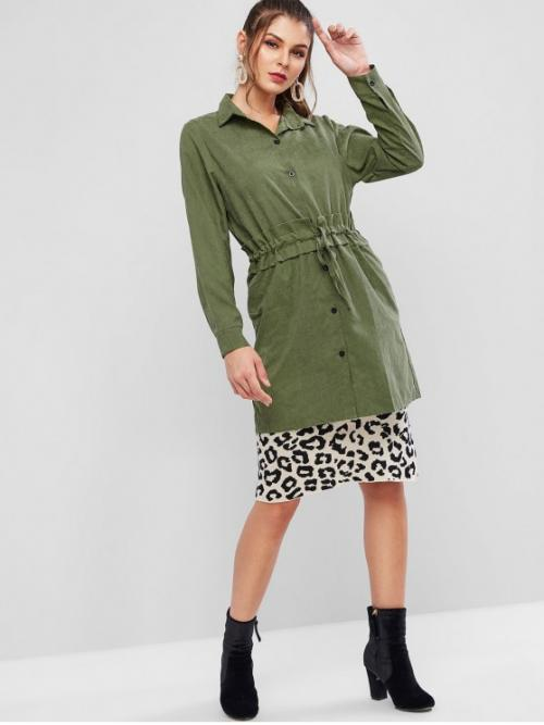 Autumn Pockets Solid Shirt Full Long Wide-waisted Daily and Outdoor Casual Drawstring Waist Button Up Pocket Shirt Coat