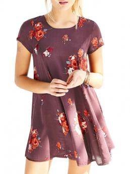 Fall and Winter No Floral Short Mini Round A-Line Casual Flower Print Jewel Neck Short Sleeve Dress