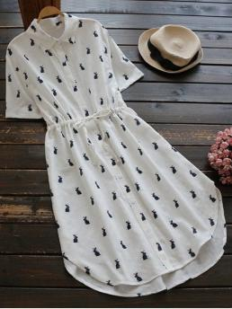 Summer No Others Short Shirt Mid-Calf Printed Button Up Drawstring Waist Shirt Dress