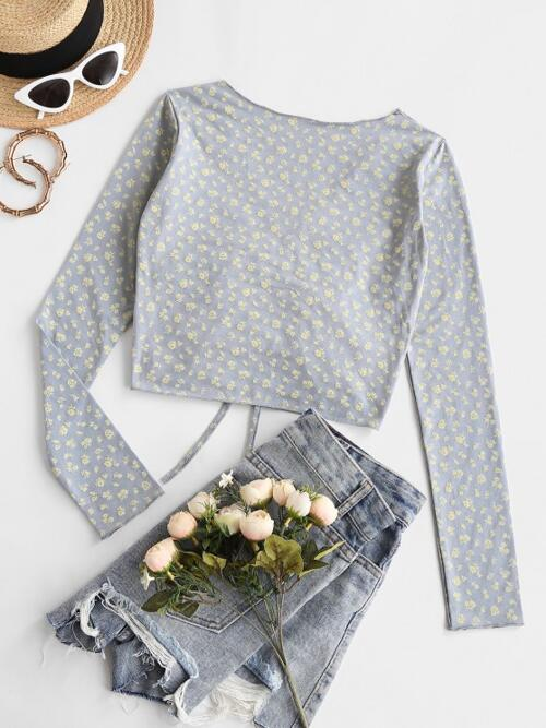 Beautiful Full Sleeve Cotton,polyester Floral Light Gray Ditsy Cinched Front V Neck Tee