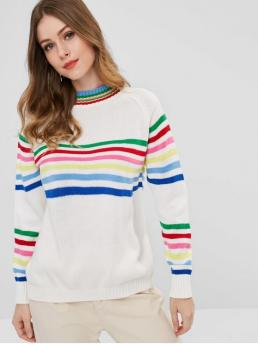 Autumn and Winter Striped Elastic Full Crew Regular Regular Fashion Daily Pullovers Colorful Striped Raglan Sleeve Sweater