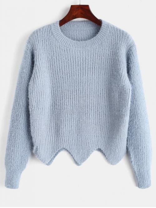 Autumn and Winter Elastic Full Round Regular Regular Fashion Daily and Going Pullovers Asymmetric Hem Fuzzy Sweater