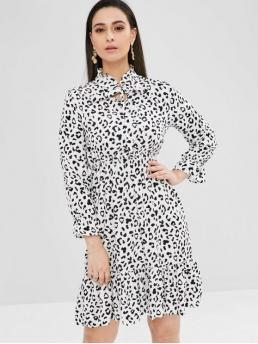 Fall and Spring No Leopard Long Knee-Length Ruffled A-Line Casual Brief Tie Neck Long Sleeve Leopard Dress