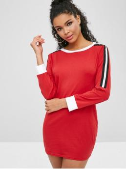 No Fall and Spring Striped Long Round Mini Tee Sheath Casual and Day Brief Contrast Trim Long Sleeve Short Dress