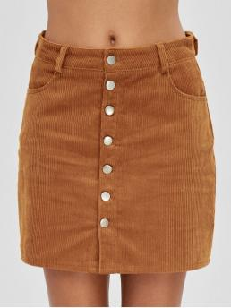 No Fall and Spring Button Pockets Solid A-Line Mini Daily and Going Fashion Button Up Pockets Corduroy Skirt