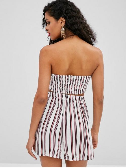 Fall and Spring Striped Pleated Elastic High Sleeveless Strapless Regular Fashion Beach Tie Back Bandeau Top and Skirt Two Piece Set