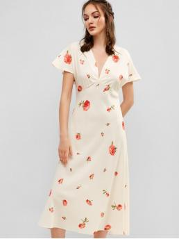 No Summer Nonelastic Floral Short V-Collar Mid-Calf A-Line Day Fashion V Neck Floral A Line Midi Dress