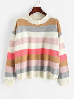 Autumn and Spring and Winter Patchwork and Striped Elastic Full Drop Crew Regular Loose Fashion Daily and Going Pullovers Pullover Stripes Color Block Crew Neck Sweater
