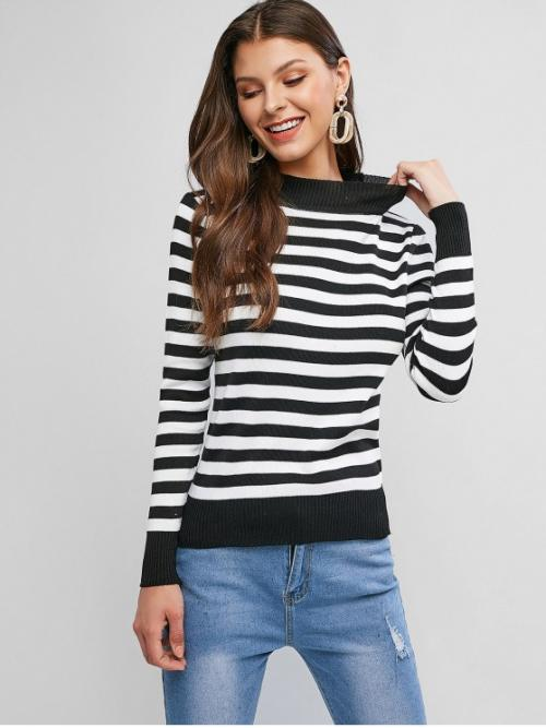 Autumn and Winter Striped Elastic Full Mock Regular Regular Fashion Daily and Going Pullovers Striped Mock Neck Ribbed Hem Sweater