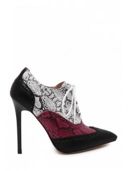 Winter and Spring/Fall PU 11CM Patchwork Lace-Up Stiletto Pointed Ankle Fashion For Snake Print Pointed Toe Ankle Boots