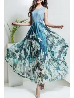 Fall and Spring and Summer No Floral Sleeveless V-Collar Ankle-Length A-Line Outer Beach Brief and Casual and Cute Floral V Neck Maxi Chiffon Flowy Dress