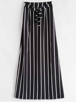 No Fall and Spring and Summer Elastic Striped A-Line Maxi Daily Fashion Tie Striped Maxi Skirt