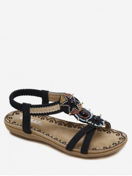 PU TPR Beading Floral Elastic Flat Cross-Strap Casual Sweet For Open Toe Beaded Flat Sandals