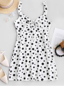 No Summer Polka Backless Sleeveless Plunging Mini A-Line Beach and Casual and Day and Vacation Fashion Polka Dot Frilled Knotted Mini Dress