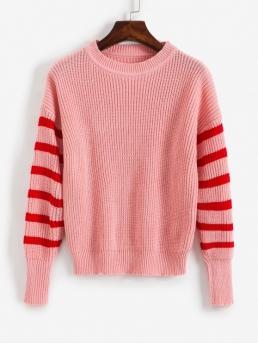 Autumn Striped Elastic Full Crew Regular Regular Casual Daily Pullovers Striped Cable Knit Sweater