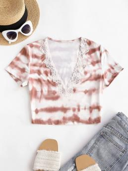 Short Sleeve Polyester,polyurethane Tie Dye Multi-a V Neck Trim Cropped Tee Affordable