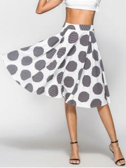 Summer Zipper Polka A-Line Mid-Calf Daily Elegant Striped Box Pleat Polka Dot Midi Full Skirt