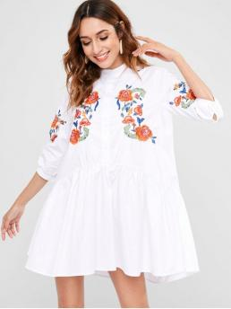 Fall and Summer No Floral Button and Embroidery 3/4 Round Mini Casual  Button Up Embroidered Mini Dress