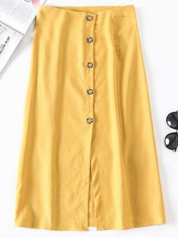 No Fall and Summer Button Button Solid A-Line Mid-Calf Daily and Going Fashion Slit Button Up A Line Skirt
