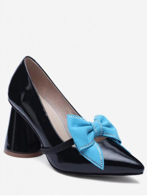 8 Spring/Fall and Summer PU Rubber Casual Chunky Pointed Closed Ankle-Wrap Bowknot Design Chunky Heel Pumps