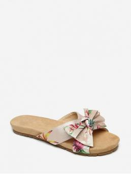 Summer Cloth Rubber Bowknot Slip-On Flat Slides Casual Bohemian For Summer Bohemia Bowknot Design Sandals