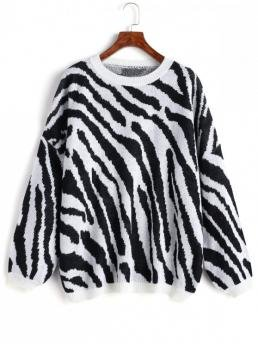 Autumn and Spring and Winter Zebra Elastic Full Drop Crew Regular Loose Fashion Daily Pullovers Zebra Striped Oversized Sweater