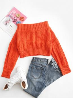 Autumn and Spring and Winter Striped Elastic Full Off Regular Loose Fashion Pullovers Chunky Cable Knit Off Shoulder Sweater