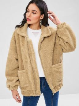 Full Sleeve Wide-waisted Cotton,polyester Solid Fluffy Zip up Teddy Coat on Sale