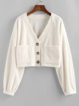 Full Sleeve Wide-waisted Polyester Solid Faux Fur Shearling Pocket Coat Clearance