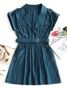 Spring and Summer Yes Solid Short Lapel Mini Lapel Collar Belted Mini Dress